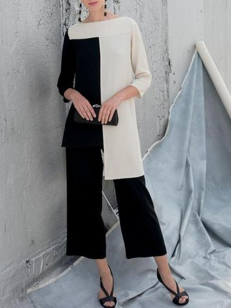 Casual Color-block Top With Pants Two-piece Set