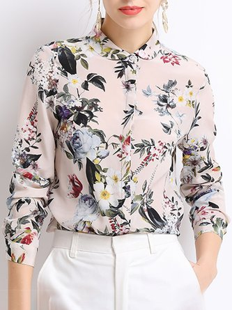 Elegant Floral-print Work Top Blouse