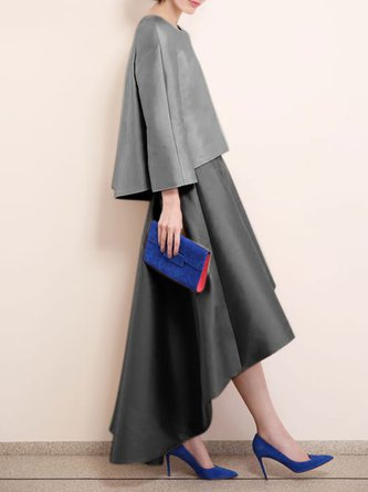 Elegant Vintage Top With Skirt Set
