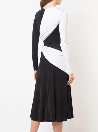 Black-White Sheath Color-block Solid Midi Dress