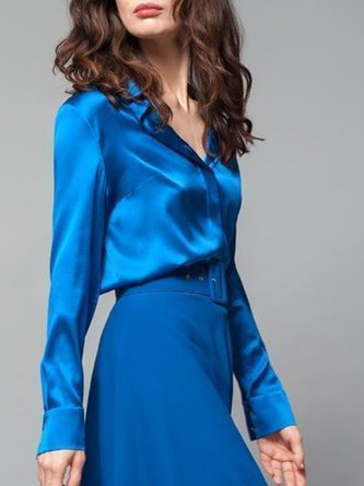 Solid Elegant Swing Top With Skirt Two-piece Set