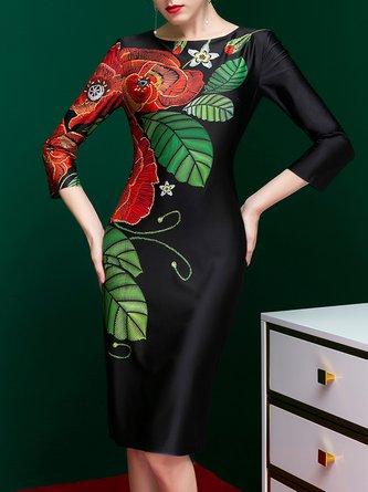 Black Bodycon Elegant  Floral-print Midi Dress