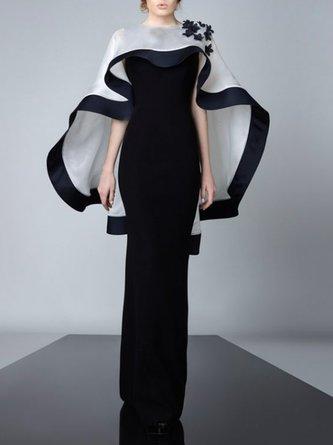 Prom Elegant Cape Paneled Maxi Dress