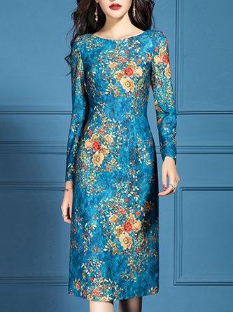 Floral Printed Sheath Elegant Midi Dress
