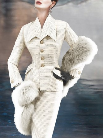 White Elegant Top With Skirt Two-piece Set