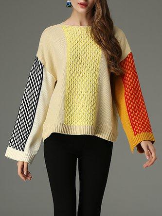 Geometric Bateau Neck Knitted Casual Sweater