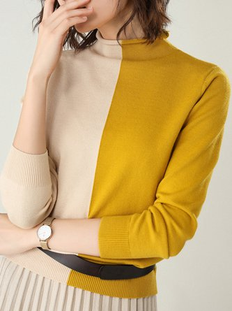 Solid Turtleneck Knitted Daily Casual Sweater