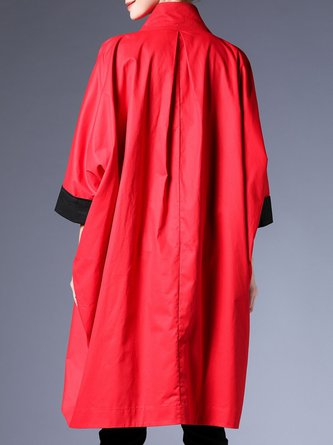 Red Casual Pocket Daily Trench Coat