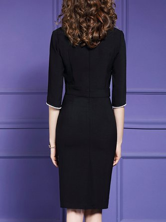 Cape Sleeve Elegant Sheath Cocktail Midi Dress