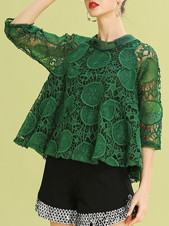 Green Statement Shift Stand Collar Top