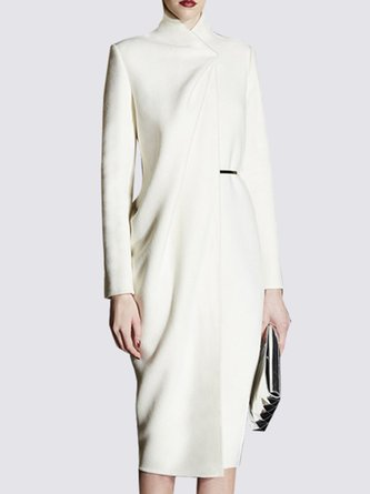 White Sheath Turtleneck Elegant Midi Dress