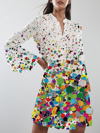 Colorful Polka Dots Casual Midi Dress