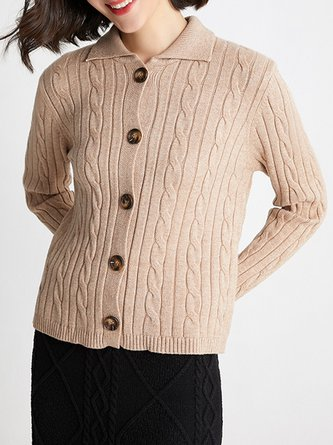 Shirt Collar Buttoned Cable Casual Cardigan