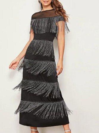 Black Fringed See-Through Look Elegant Maxi Dress