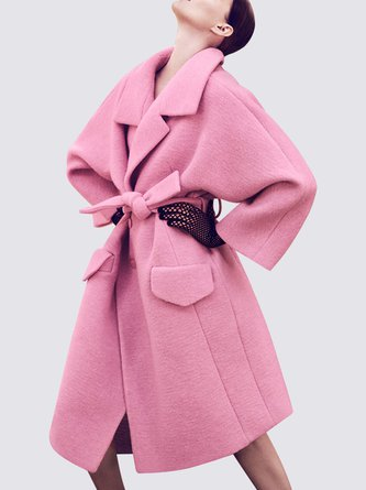Pink Shawl Collar Elegant Pockets Coat