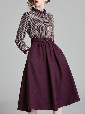 Burgundy A-Line Work Paneled Midi Dress