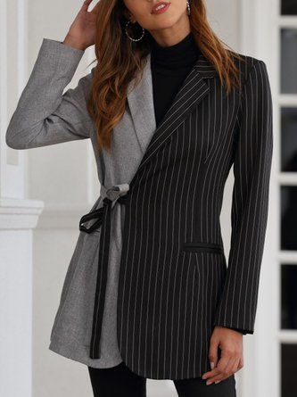 Black-Gray Long Sleeve Lapel Elegant Work Blazer