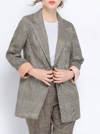 Gingham Buttoned Long Sleeve Lapel Blazer