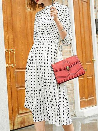 Stand Collar White Polka Dots Daily Midi Dress