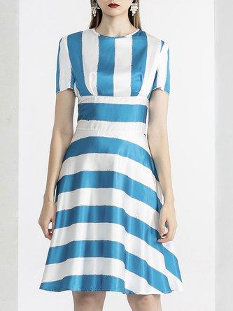 Summer A-Line Daytime Striped Midi Dress