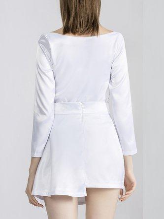 Summer V Neck Date Top With Skirt Set