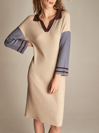 3/4 Sleeve V Neck Knitted Casual Sweater Dress