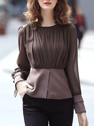 Crew Neck Solid Long Sleeve Elegant Top