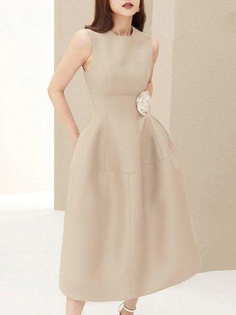 Khaki A-Line Simple Pocket Midi Dress