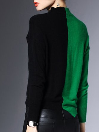 Stand Collar Color-block Knitted Elegant Sweater