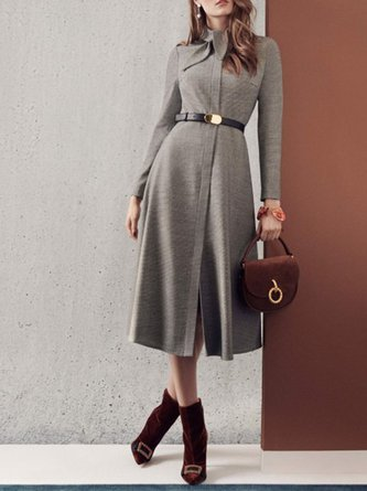 Stand Collar Going Out Elegant Midi Dress