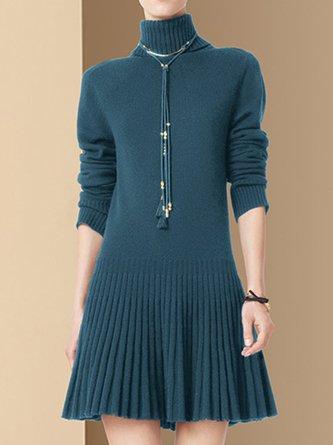Dark Blue Elegant Solid Sweater Dress
