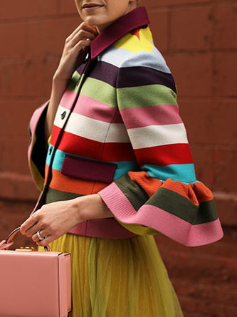 Color-block Striped Bell Sleeve Elegant Jacket