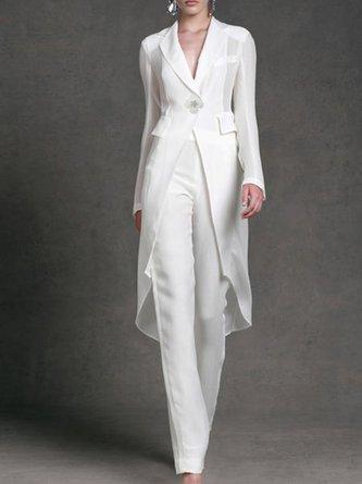 White Elegant Asymmetric Top With Pants Two-piece Set