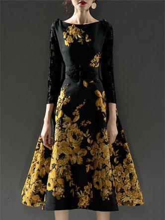 A-Line Cocktail Elegant Floral-Print Midi Dress
