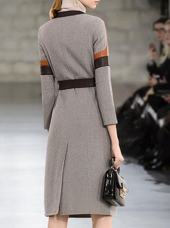 Long Sleeve Color-Block Buttoned Casual Midi Dress