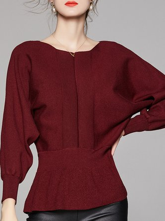 Burgundy Casual Batwing Daily Sweater