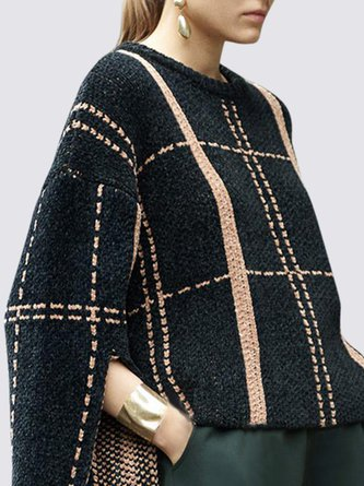 Black Knitted Crew Neck Shift Casual Sweater