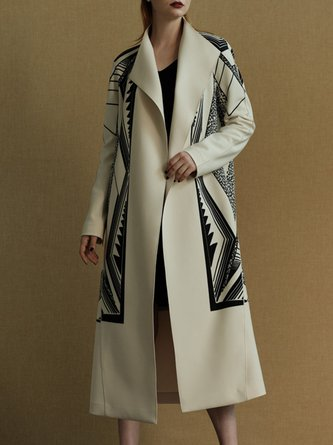 Casual V Neck Graphic Printed Coat