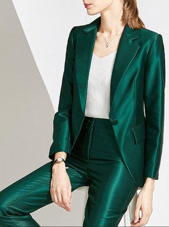 Green Lapel Elegant Work Blazer With Pants Set