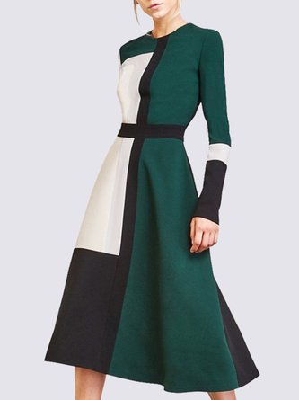 Abstract A-Line Color-Block Casual Midi Dress