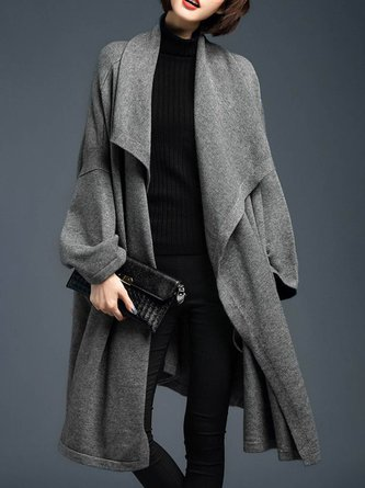 Gray Daily Casual Long Sleeve Coat