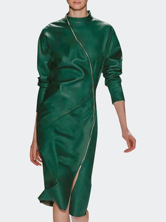 Stand Collar Bodycon Daily Elegant Midi Dress