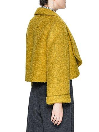 Shawl Collar Shift Long Sleeve Cropped Jacket