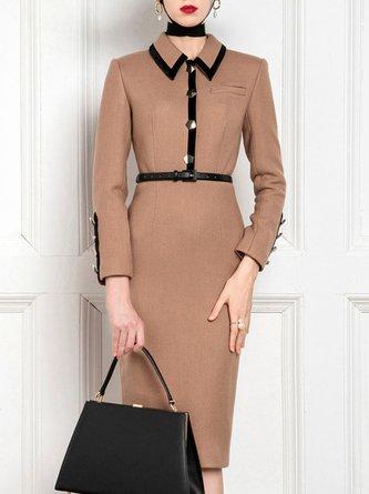 Shirt Collar Camel Buttoned Work Midi Dress