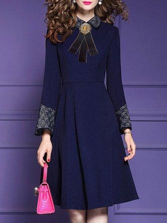 Navy Blue A-Line Elegant Midi Dress