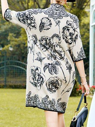 Turtleneck Beige Shift Elegant Midi Dress