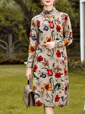 Turtleneck Floral Printed Elegant Midi Dress