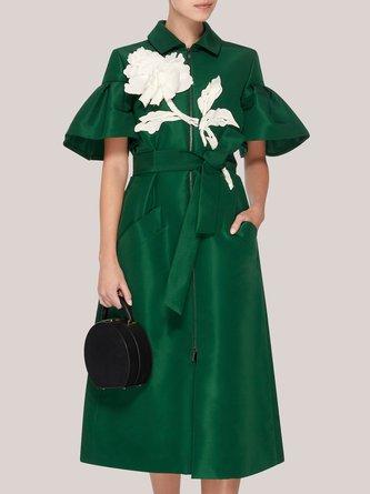 Green Daily Elegant Zipper Midi Dress