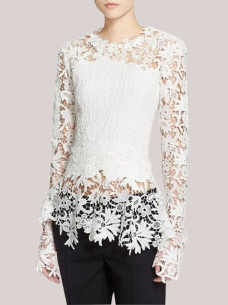White Solid Long Sleeve Statement Top