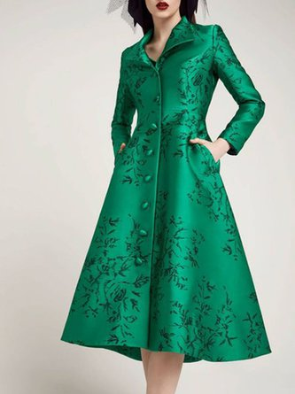 Shirt Collar Green A-Line Elegant Midi Dress